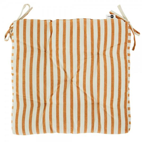 Madam Stoltz Sitzkissen gestreift creme orange 45x45 cm