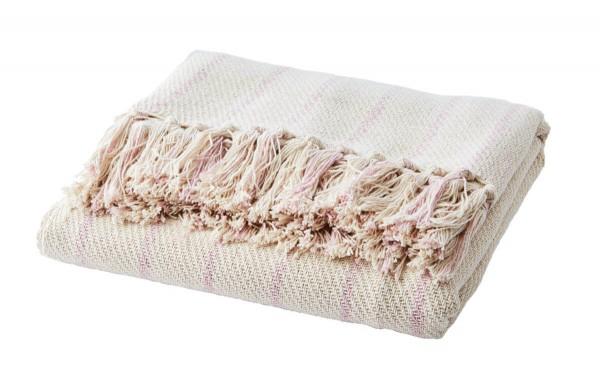 Affari of Sweden Decke rosa gestreift 125x175 cm recycelte Baumwolle