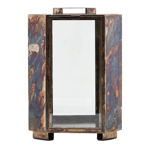 House Doctor Laterne Baazi 28 cm Metall Glas Antikes braun