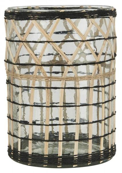 Ib Laursen Kerzenhalter Bambusgeflecht Rand schwarz