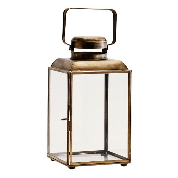 Madam Stoltz Laterne Windlicht Messing Glas 26 cm