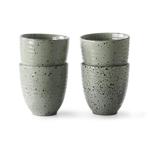 HK Living Becher 4er Set Keramik grün 295 ml