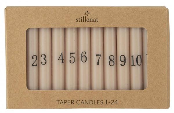IB Laursen Kerzen-Set Advent Weihnachten 1-24 malva