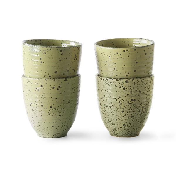 HK Living Becher 4er Set Keramik gelb 295 ml