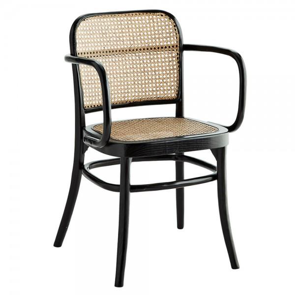 Madam Stoltz Stuhl mit Armlehnen Holz Rattan schwarz