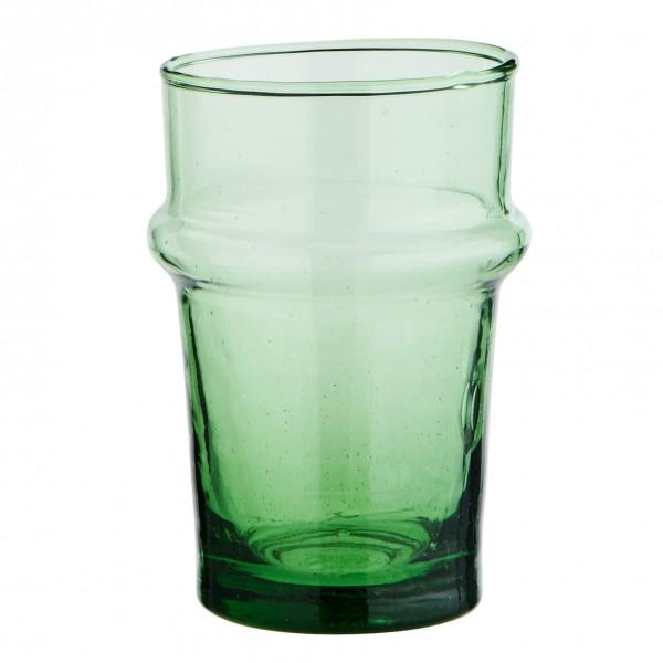 Madam Stoltz kleines Trinkglas Beldi Recycling Glas grün 9,5 cm