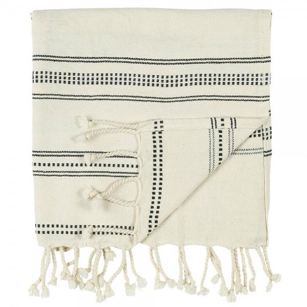 IB Laursen Handtuch Hammam natur schwarz gewebt 50x100 cm