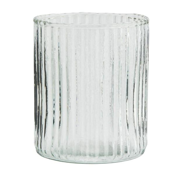 Madam Stoltz Glas mit Rillen 8x9 cm