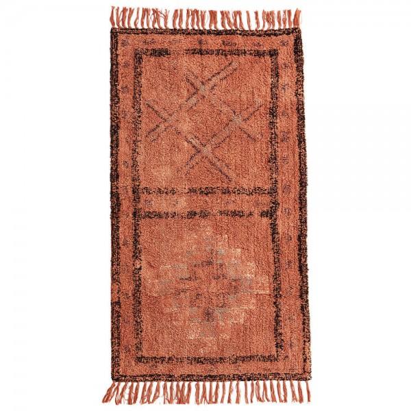 Madam Stoltz Läufer Wolle orange rot 70x140 cm