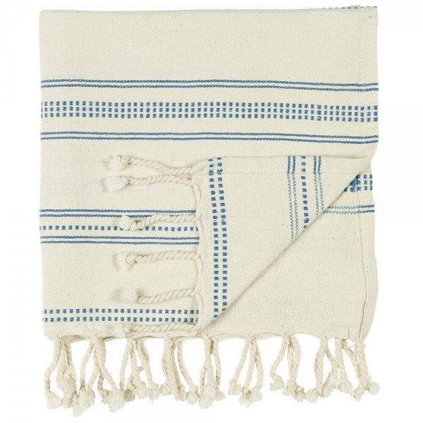 IB Laursen Handtuch Hammam natur blau gewebt 50x100 cm