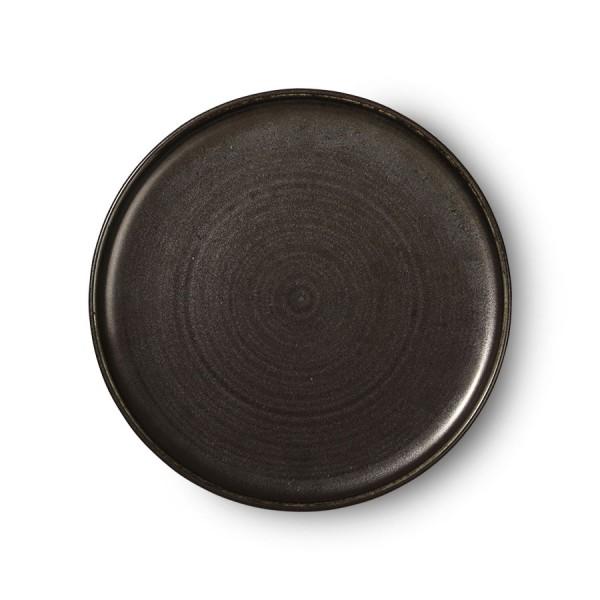 HK Living Kyoto Essteller Ø26cm schwarz rustikal Keramik