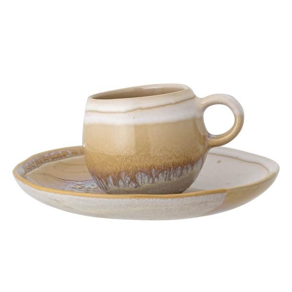 Bloomingville Espresso Tasse mit Untertasse Steingut