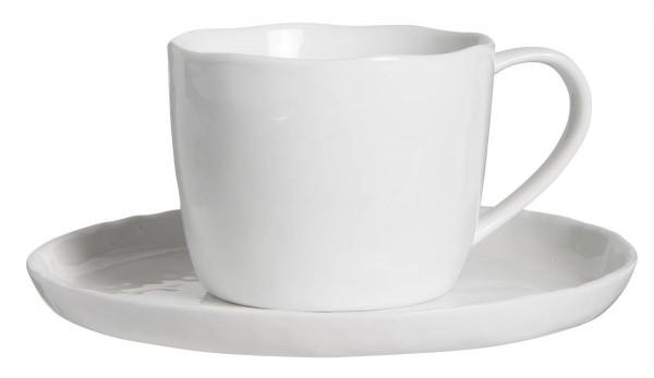 """Tasse aus Porzellan mit Untertasse in weiß """"Delicate White"""" von IB Laursen"""