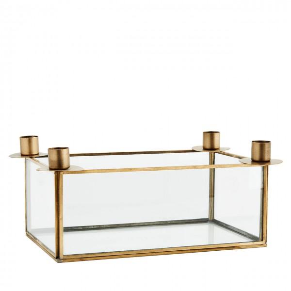 Madam Stoltz Kerzenständer Advent Glasbox Metall brass