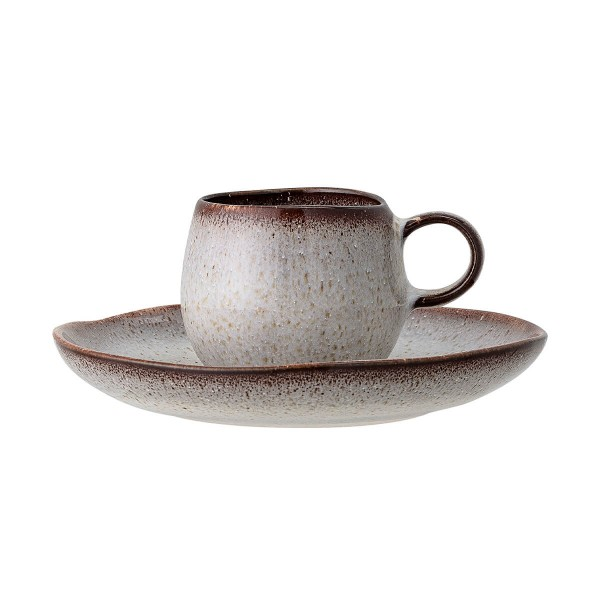 Bloomingville Espressotasse mit Untertasse Sandrine braun grau