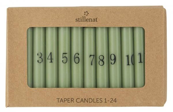 IB Laursen Kerzen-Set Advent Weihnachten 1-24 staubig grün