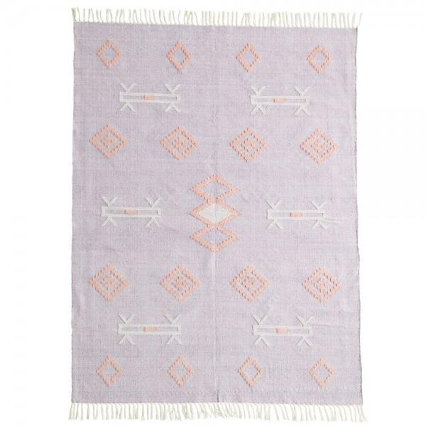 Madam Stoltz Teppich handgewebt Baumwolle lilac peach 120x180 cm