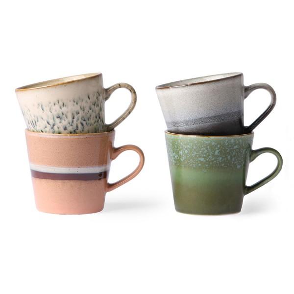 HK Living Capuccino Tassen 4er Set Keramik 70's