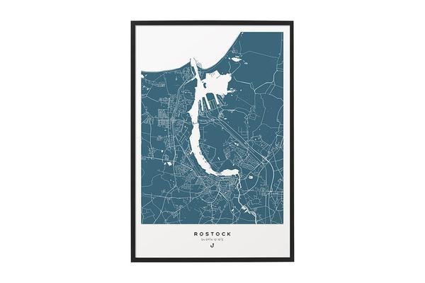 Wandbild Rostock Karte blau matt
