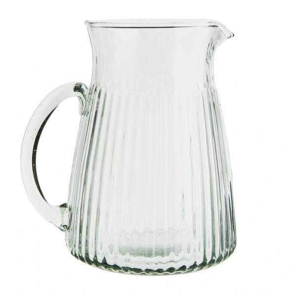 Madam Stoltz Karaffe aus Glas mit Rillen 13x18 cm