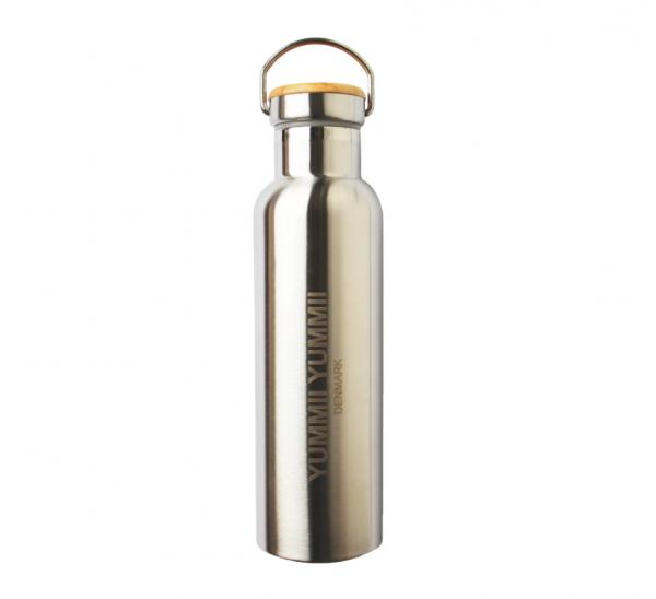 Edelstahlflasche mit Bambusdeckel 600 ml Thermosflasche