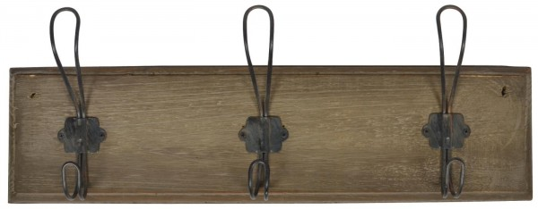 Ib Laursen Hakenleiste mit 3 Haken Holz Metall braun