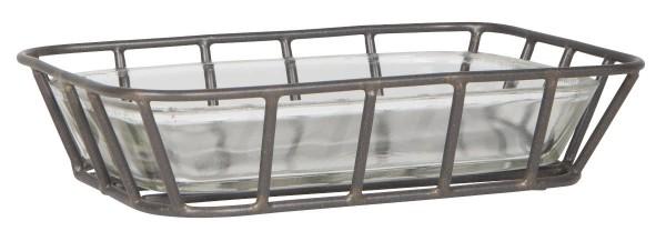 IB Laursen Seifenschale aus Glas mit schwarzem Metallständer