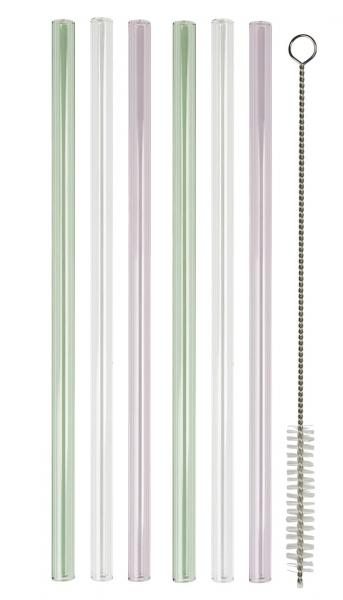IB Laursen Glasstrohhalme Set 6 Stück 3 Farben