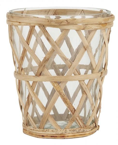 Ib Laursen Kerzenhalter Teelicht mit Bambusgeflecht