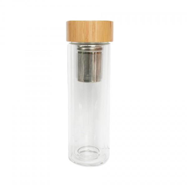 doppelwandige Glasflasche mit Teesieb 400ml