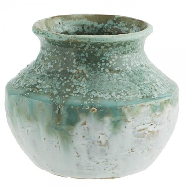 Madam Stoltz Vase Steingut grün weiß